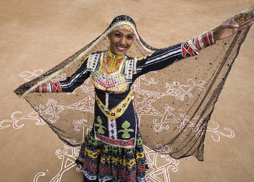 Female Rajasthani dancer, Rajasthan. India.