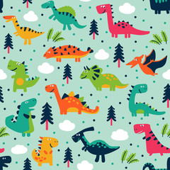 Adorable seamless pattern with funny dinosaurs in cartoon. Seamless pattern can be used for wallpapers, pattern fills, web page backgrounds,surface textures