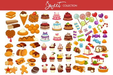 Sweet collection of tasty decorated desserts and candies Wall mural