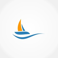 sailling boat ocean logo