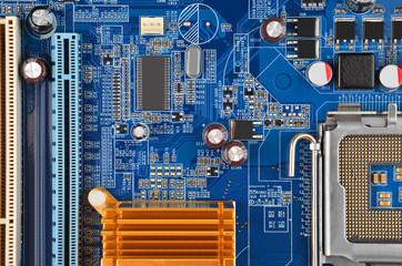 Blue computer motherboard
