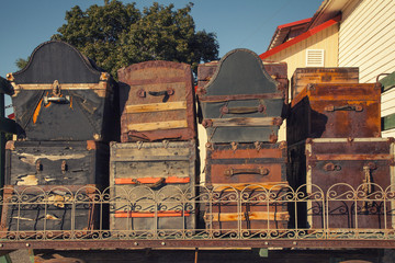 Variety of Antique Steamer Trunks