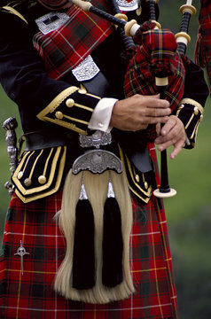 Close up of Scottish bagpiper