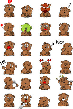 Cartoon style draw of Cute dog with different emotion. Set of brown dog emoticon.