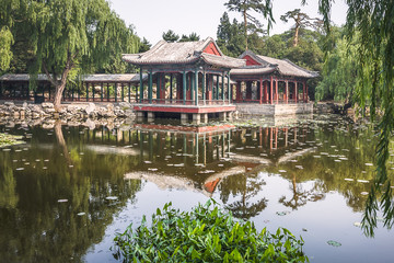 Pavilions over a Lake in Beijing, China