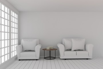 empty white room design with sofa set in white room in 3D rendering