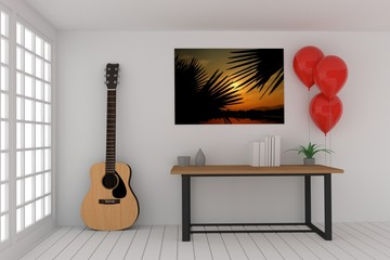 working table in empty room with acoustic guitar and red balloons in 3D rendering