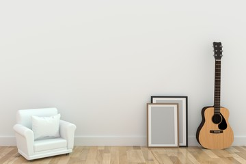 minimalist single sofa design with guitar in room in 3D rendering