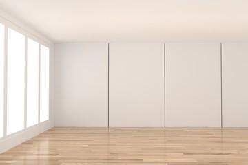 empty white room with window design in 3D rendering