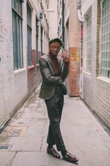 Fashionable young  black  man  in  Soho  London