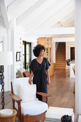 Portrait of African American woman in living room