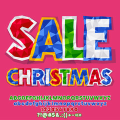 Vector Christmas Sale Banner with crumpled colorful Paper. Bright Alphabet letters, Symbols and Numbers. Origami Font contains Graphic style