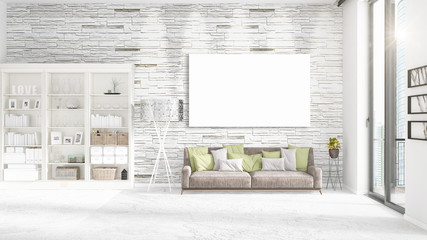 Fashionable modern loft interior with empty frame and copyspace in horizontal arrangement. 3D rendering.