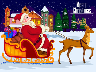 Santa Claus riding sleigh with gift for Merry Christmas and Happy New Year