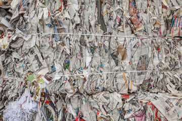 Old Paper Stacked for Recycling