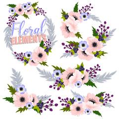 Beautiful floral design set. Vector Illustration