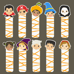 printable Halloween characters bookmarks set, cartoon vector collection