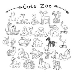 Collection of cute cartoon doodle animals and birds of the world. Lined for coloring pages