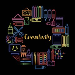 Kids creativity and art design vector poster of painting brush tool icons