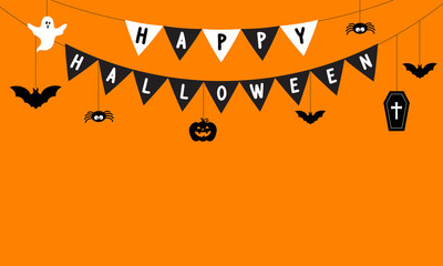 Happy Halloween Background vector illustration. Halloween hanging ornaments with flag garland on orange background.