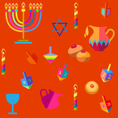 Hanukkah Jewish Holiday seamless pattern with traditional Chanukah symbols - wooden dreidels (spinning top), donuts, menorah, oil jar, candles, star of David, lights, doodle, red color Vector