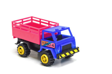 Colorful toy truck on white background