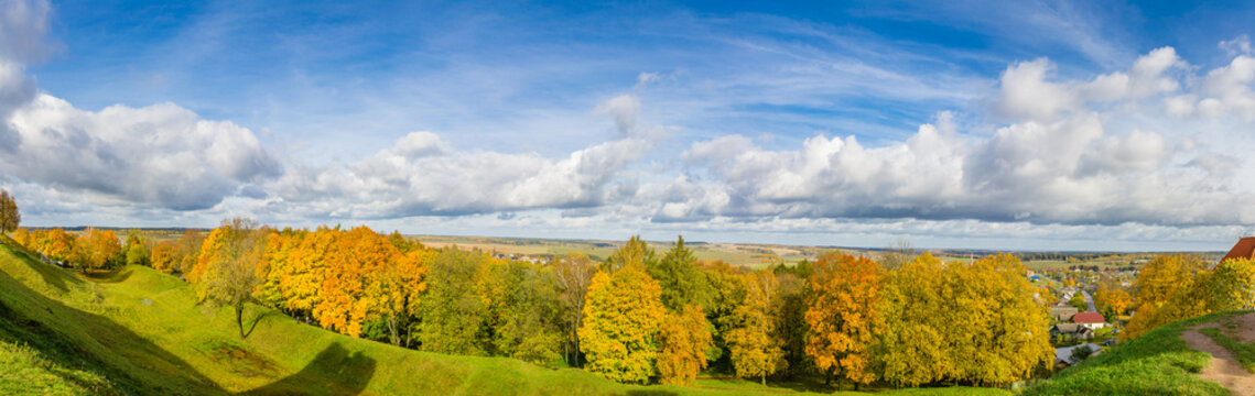 Autumn panorama on the Novogrudok hills from the ruins of the castle
