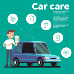Cars tips vector illustration. Young man with checklist and blue car