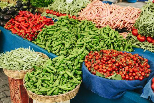 Stall of fresh vegetables on the market