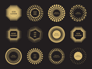 Halftone dots round banners design on black background