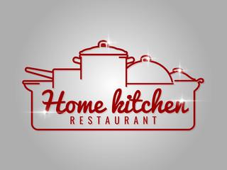 Home kitchen restaurant line logo