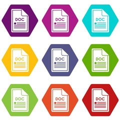 File DOC icon set color hexahedron