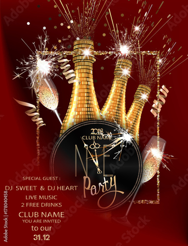 christmas and new year background with sparklers serpentine bottle and glasses with champagne and