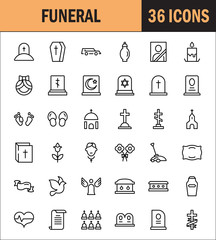 Funeral icon set