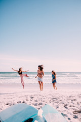 Group of young adult women cheering at the beach on summer vacation