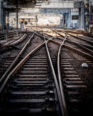 鉄道、レール、分岐。
