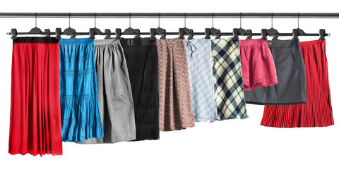 Skirts on clothes racks