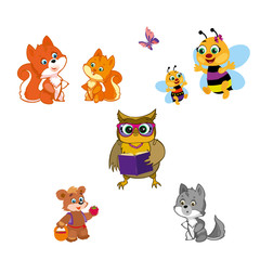 Animals isolated on white