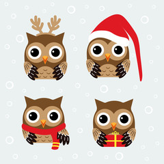 christmas set with owls