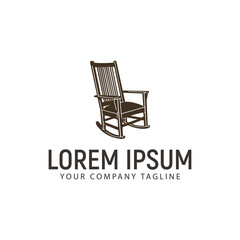 rocking chair logo design concept template