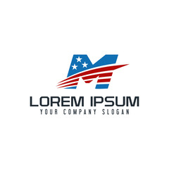 letter M america logo design concept template