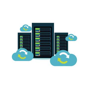 Database Synchronize Technology. Cloud storage. Cloud computing. Migration. Backup concept. Data Center.