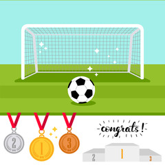 Soccer goal and ball on the green field and set of trophy award icons isolated on white background. Vector illustration
