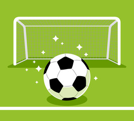 Soccer goal and ball on the green field.Vector illustration