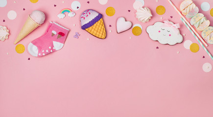 Cute Happy Birthday party background with ice cream cone and marshmallows