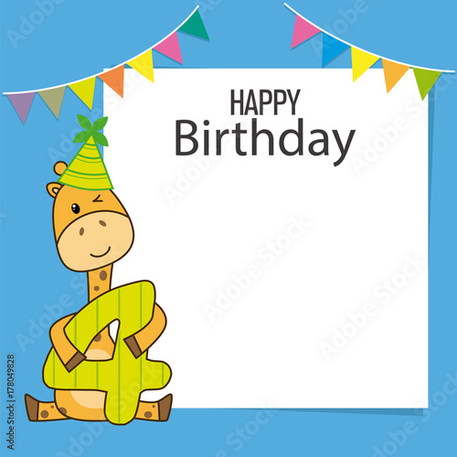 Giraffe Birthday Card Space For Text Or Photo Stock Image And
