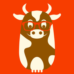 cow in glasses vector illustration style flat front