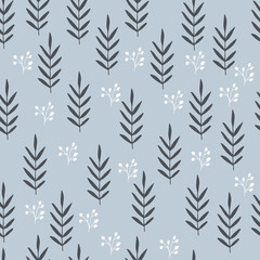 Herbs seamless pattern. Scandinavian background. Nature style.