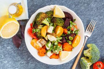Vegetarian salad of baked vegetables and tofu