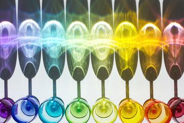 rainbow shadows drinking glasses